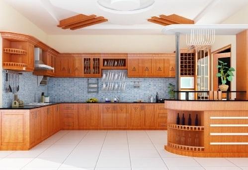 Tủ bếp cổ điển gỗ tần bì quầy bar