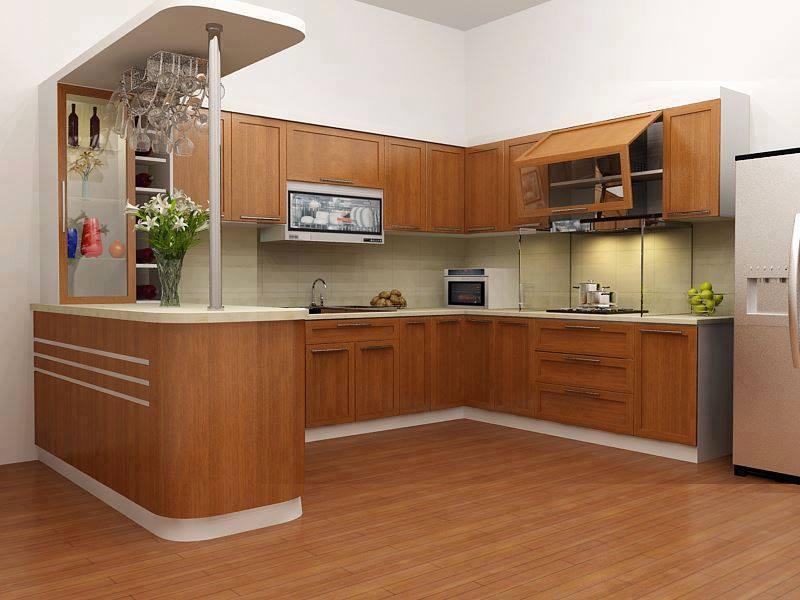 Tủ bếp cổ điển gỗ tần bì quầy bar đẹp