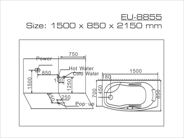 Thông số kỹ thuật của phòng xông hơi Euroking EU-8855