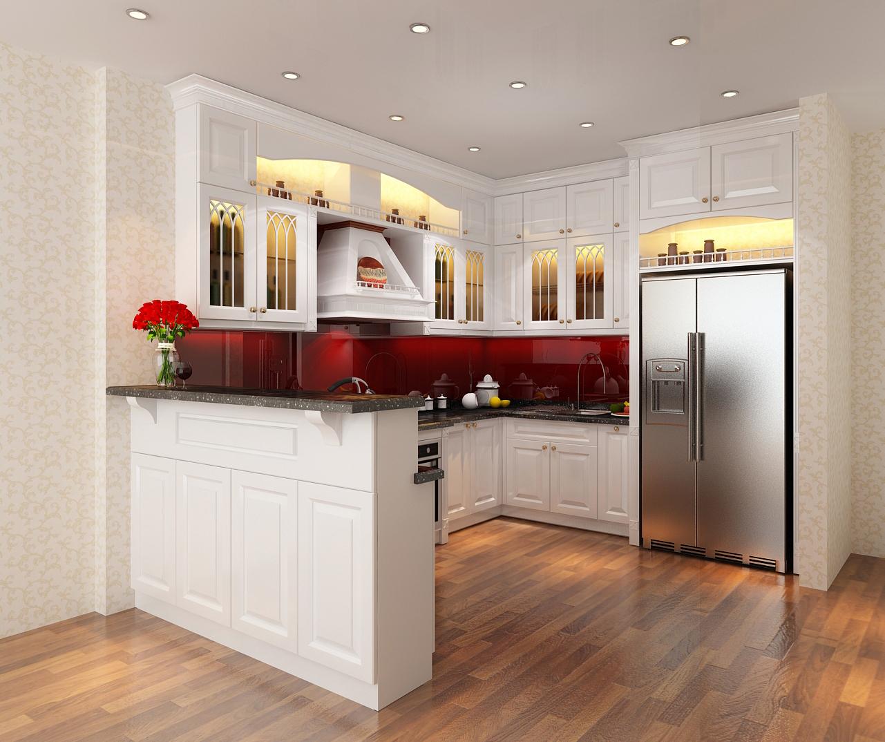 Chọn tủ bếp hiện đại gỗ sơn màu nhà phố
