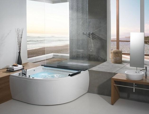 Bồn tắm góc giúp tiết kiệm diện tích cho phòng tắm không gian nhỏ