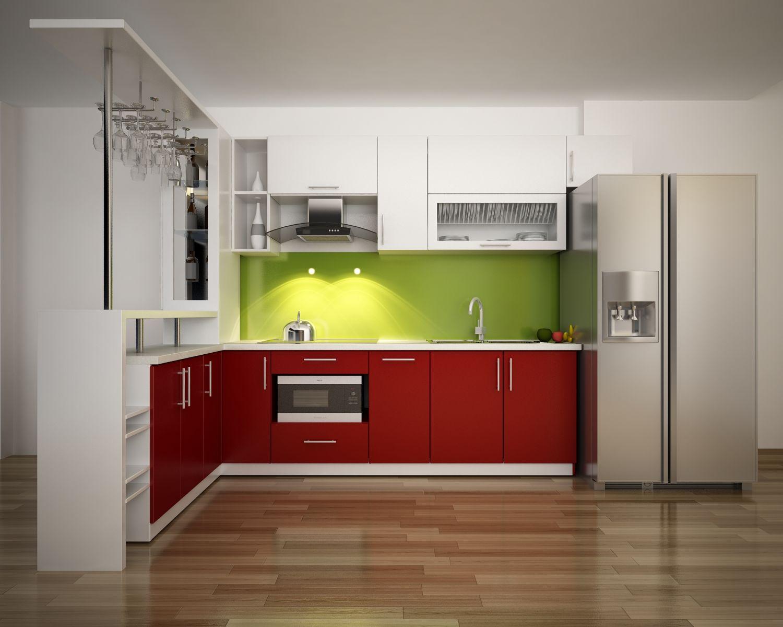 Tủ bếp hiện đại gỗ Acrylic quầy bar đẹp
