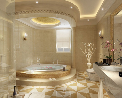 Bồn tắm xây thiết kế trong không gian sang trọng