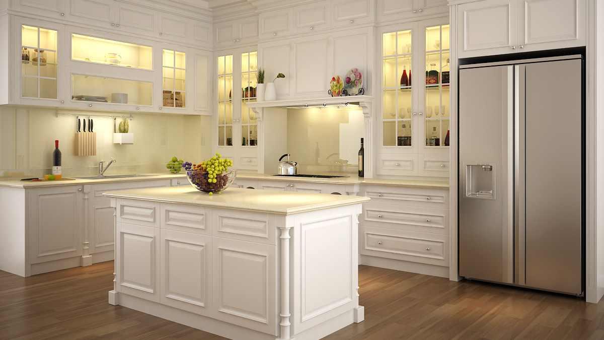 Tủ bếp bàn đảo gỗ sơn màu tham khảo