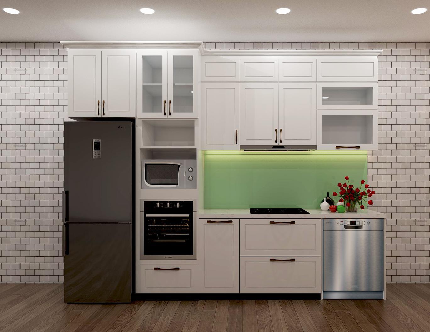 Tủ bếp chung cư gỗ sơn màu chữ I