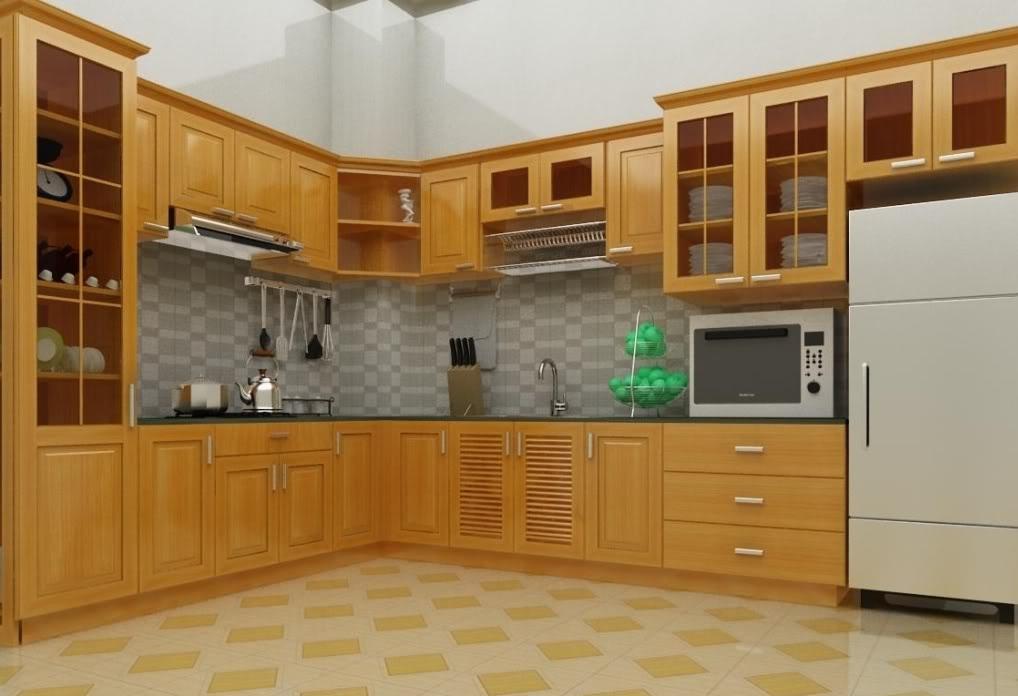 tủ bếp cao cấp gỗ sồi Nga đẹp