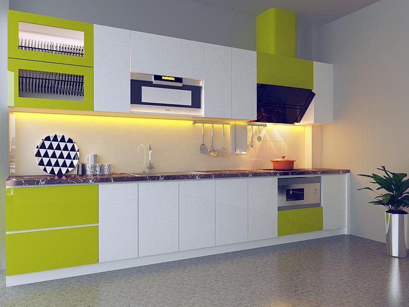 Tủ bếp chung cư gỗ Acrylic hình chữ I đẹp