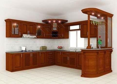 Tủ bếp nhà phố gỗ xoan đào quầy bar
