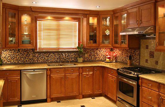 Tủ bếp giá rẻ gỗ xoan đào chữ L