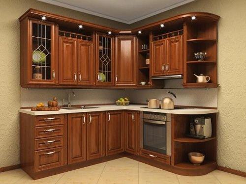 Tủ bếp chung cư gỗ xoan đào chứ L