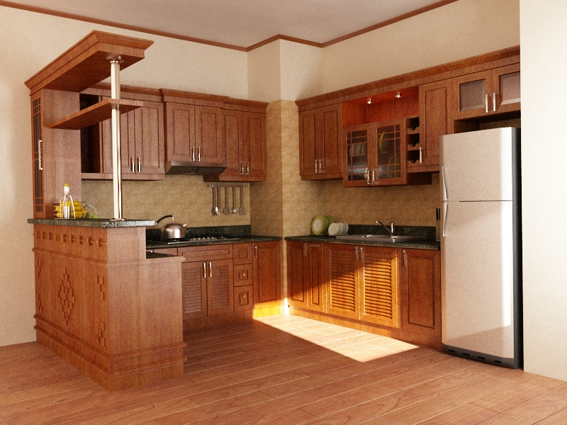 Tủ bếp giá rẻ gỗ xoan đào quầy bar
